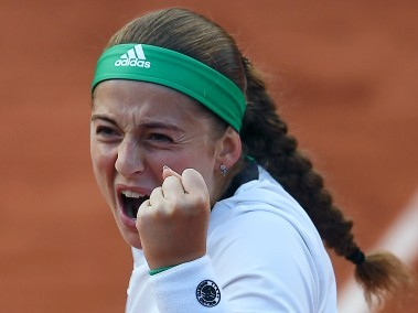 Jelena Ostapenko reacts after winning her quarter-final match against  Caroline Wozniacki. AFP
