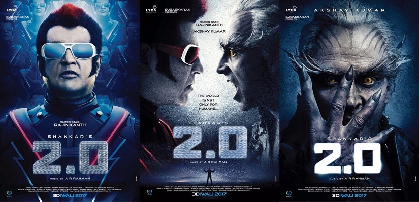 Posters of 2.0, starring Rajinikanth and Akshay Kumar. Images via twitter