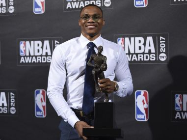 NBA Most Valuable Player Russell Westbrook poses in the press room at the 2017 NBA Awards Show. AP