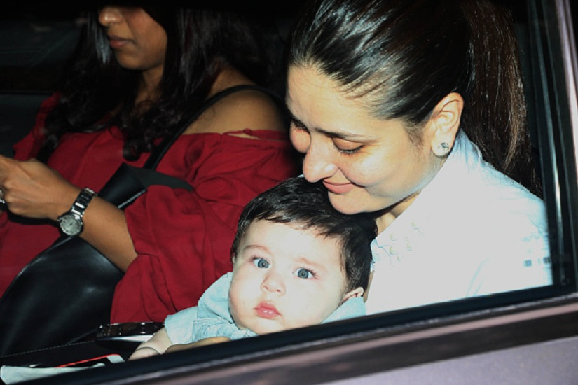 MUMBAI, INDIA JUNE 01: Kareena Kapoor Khan with her son Taimur at Tusshar Kapoor's son Laksshya's first birthday bash in Mumbai.(Photo by Milind Shelte/India Today Group/Getty Images)