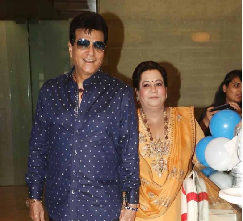 MUMBAI, INDIA JUNE 01: Jeetendra and Shobhaa Kapoor at Tusshar Kapoor's son Laksshya's first birthday bash in Mumbai.(Photo by Milind Shelte/India Today Group/Getty Images)