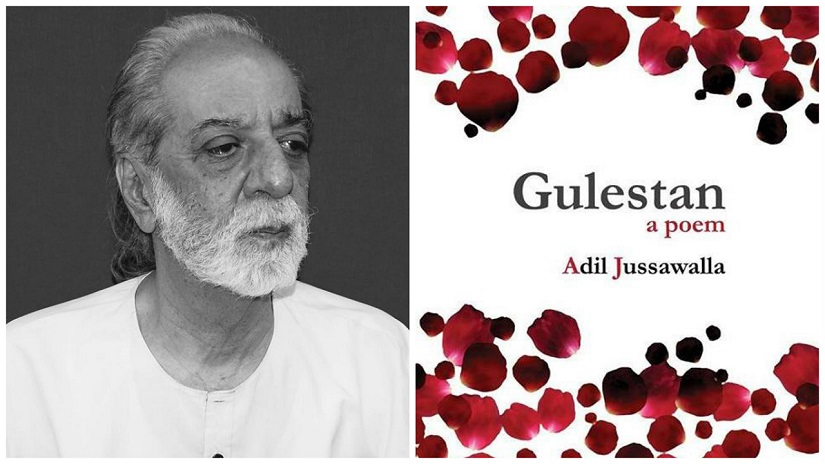 (L) Adil Jussawalla. Photo courtesy Graph Art. (R) Front cover of 'Gulestan' (2017)