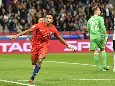 Chile's Alexis Sanchez celebrates after scoring a goal during the match against Germany. AP