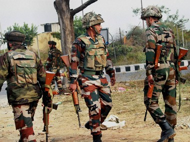 A file image of army personnel in Kashmir's Nagrota. PTI