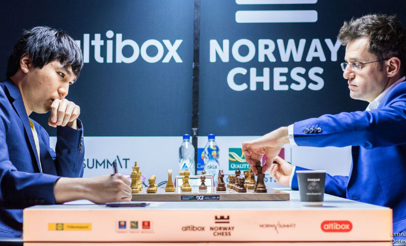 Aronian drew his last round game against Wesley So. Image courtesy: Lennart Ootes