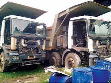 The trucks seized in Assam's Image courtesy: Asomiya Pratidin