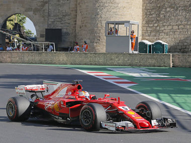 Ferrari driver Sebastian Vettel of Germany steers his car during the Formula One Grand Prix of Europe at the Baku circuit in Baku, Azerbaijan. AP