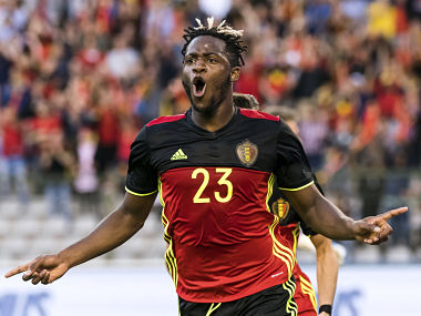Belgium's Michy Batshuayi celebrates after scoring a goal during an international friendly soccer match between Belgium and Czech Republic, at the King Baudouin stadium in Brussels on Monday, June 5, 2017. (AP Photo/Geert Vanden Wijngaert)