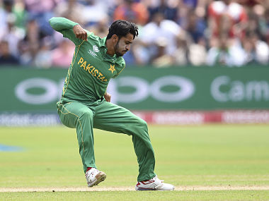 Pakistan's Hasan Ali celebrates the wicket of England's Eoin Morgan during the ICC Champions Trophy, semifinal cricket match between England and Pakistan in Cardiff, Wales Wednesday June 14, 2017. (Joe Giddens/PA via AP)