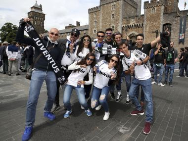 Juventus and Real Madrid fans show their support in Cardiff prior to the UEFA Champions League Final at the National Stadium, Cardiff, Wales. Saturday June 3, 2017. (Nick Potts/PA via AP)