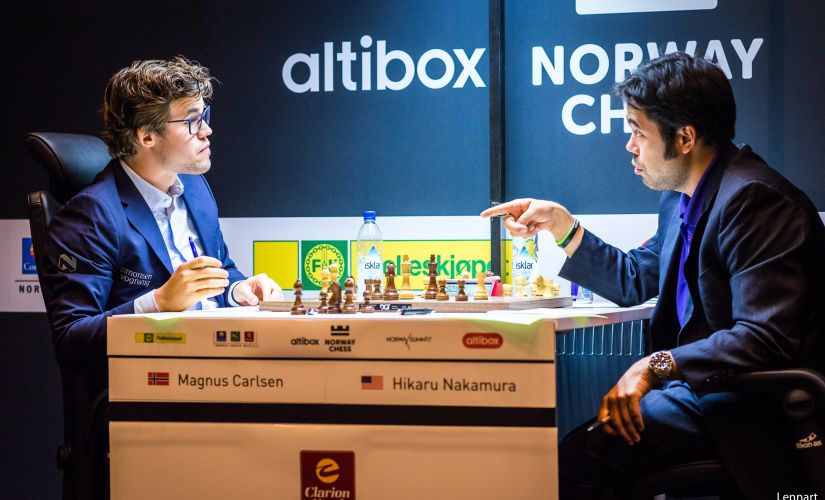 Round three witnessed the rivalry between Norwegian Magnus Carlsen and American Hikaru Nakamura - image courtesy: Lennart Ootes