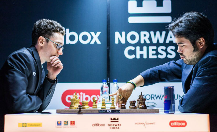 Caruana won his first game of the tournament deploying a line he played in his childhood days! Image courtesy: Lennart Ootes