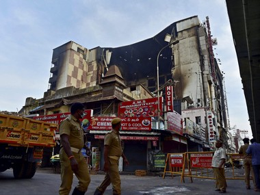 File image of fire-ravaged Chennai Silks Building in Chennai on Thursday. PTI
