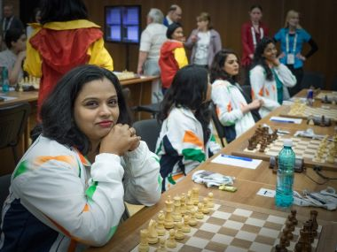 Indian chess player S Vijayalakshmi at World Team Chess Championship. Image courtesy: Twitter/@ChessbaseIndia
