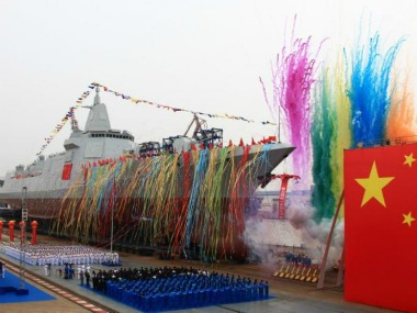 China's domestically-built destroyer is seen during its launching ceremony at the Jiangnan Shipyard in Shanghai, China. Reuters