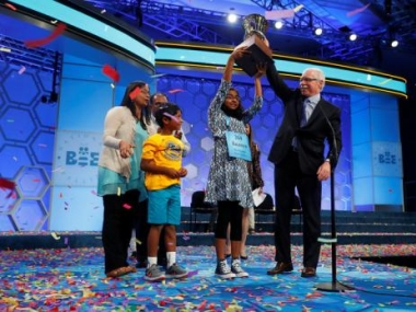 Ananya Vinay wins the 2017 Scripps National Spelling Bee. Reuters