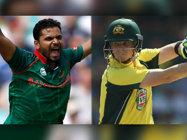Bangladesh captain Mashrafe Mortaza and Australian captain Steven Smith.