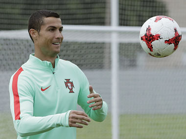 Portugal's Cristiano Ronaldo during a training session. AP