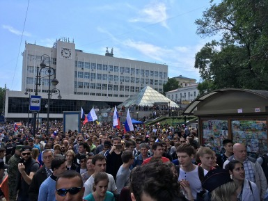 Detained protestors in Moscow. Twitter