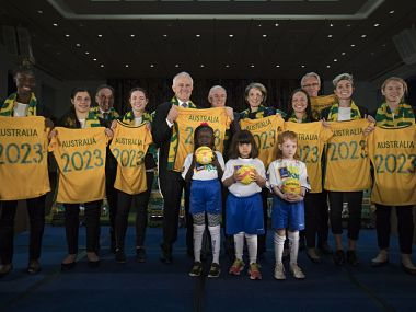 Prime Minister Malcolm Turnbull at the launch of Australia's bid for the 2023 FIFA Women's World Cup.