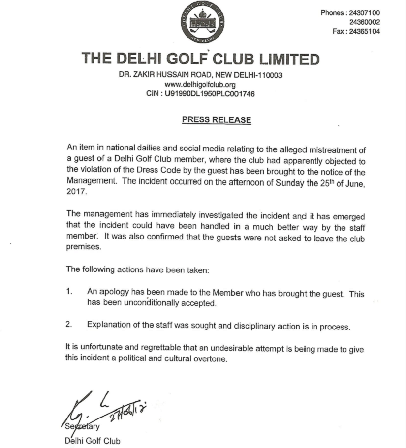 Press release issued by The Delhi Golf Club after the incident.