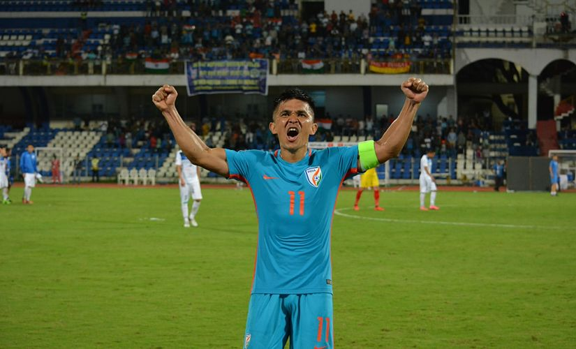 Sunil Chhetri celebrates after scoring the winner against Kyrgyz Republic on Tuesday. Twitter/ @IndianFootball