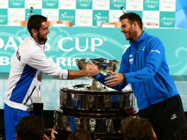 File photo of Marin Cilic (L) and Juan Martin del Potro before the Davis Cup final in 2016. Reuters