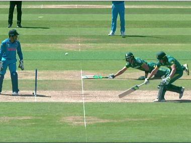 Faf Du Plessis (R) and David Miller (L) were involved in a comical run out against India. ICC