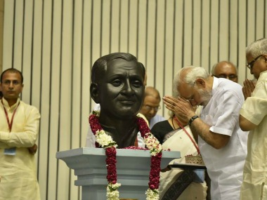 File image of Prime Minister Narendra Modi paying tributes to Deendayal Upadhyaya. Wikimedia Commons