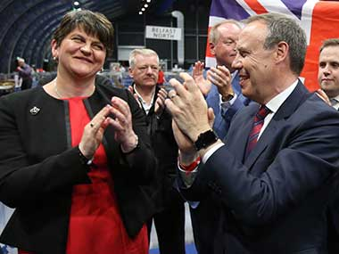 File image of Democratic Unionist Party (DUP) leader Arlene Foster, left, and deputy leader Nigel Dodds. AP