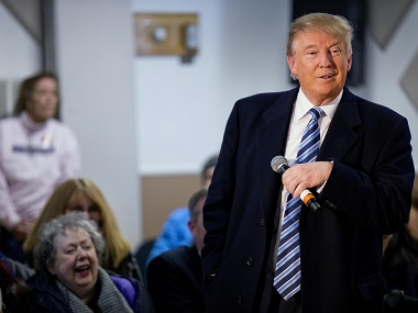Republican presidential candidate Donald Trump speaks during a town hall campaign event at the Londonderry Lions Club Monday, Feb. 8, 2016, in Londonderry, N.H. (AP Photo/David Goldman)