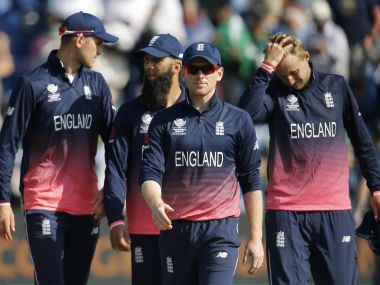 England players look dejected after being eliminated from the Champions Trophy. Reuters