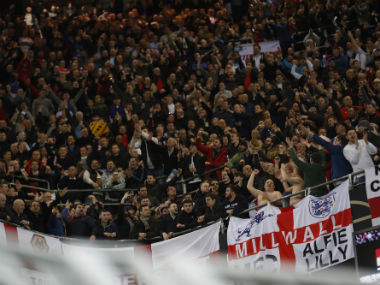 The Football Association handed life bans to two England fans for making Nazi gestures. Reuters