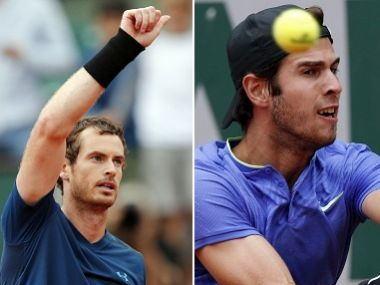 Britain's Andy Murray thumbs up after defeating Argentina's Juan Martin del Potro during their third round match of the French Open tennis tournament at the Roland Garros stadium, Saturday, June 3, 2017 in Paris. Murray won 7-6, 7-5, 6-0. (AP Photo/Christophe Ena)