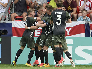 Germany's players during the Euro Under 21 semifinal against England. AP