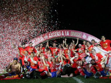 Girona celebrate their promotion to La Liga after 87 years. Twitter: @GironaFC