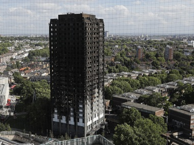 The scorched facade of London's Grenfell Tower. AP