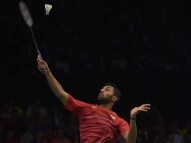 HS Prannoy plays a return against Lee Chong Wei at the Indonesia Open. AFP