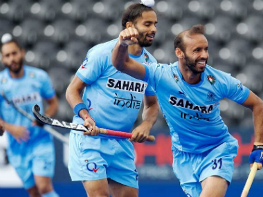 India's Ramandeep Singh celebrates after scoring a goal against Pakistan at HWL Semi-FInal. Image Courtesy: Facebook/@TheHockeyIndia
