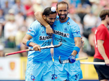 India celebrate after scoring the second goal against Canada. Photo Courtesy: Facebook/@TheHockeyIndia