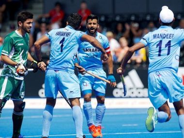 India celebrate after scoring against Pakistan in the HWL Semi-FInals. Photo courtesy: Twitter/@TheHockeyIndia