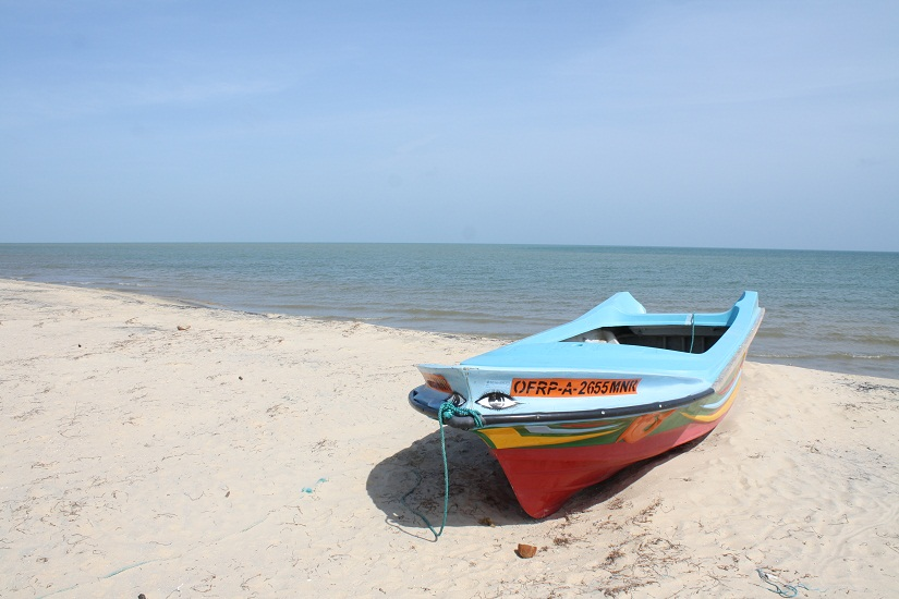 A fishing boat on Adam's beach at Talaimannar
