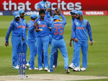 Indian players celebrate a wicket during the Champions Trophy. Reuters
