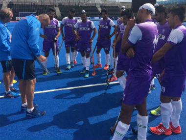 The Indian team at training ahead of HWL Semi-Final in London. Photo courtesy: Facebook/@TheHockeyIndia
