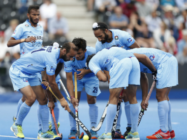 Indian Hockey team in a huddle during their World Hockey League Semi-Final match against Canada. AP