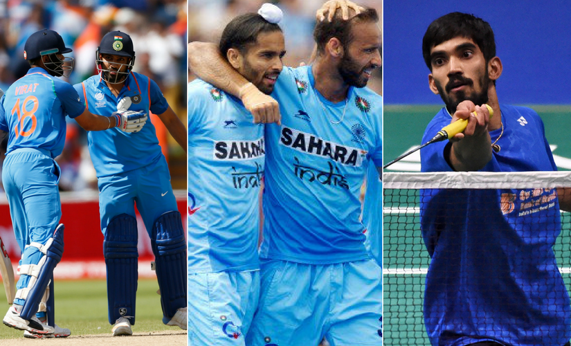 The Indian cricket team, Indian hockey team and Kidambi Srikanth are all in action on Sunday. AP and Reuters