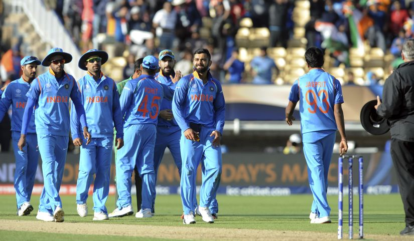 Indian team at Edgbaston after beating Pakistan by 124 runs in their opening match of Champions Trophy. AP