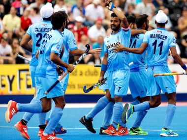 India celebrate after scoring a goal against Canada in HWL Semi-Finals 2017. Facebook/@TheHockeyIndia