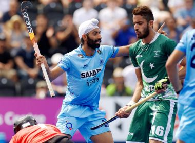 London: India's Ramandeep Singh celebrates after scoring a goal against Pakistan during their Hockey World League Semi-Final match in London on Sunday. PTI Photo (PTI6_18_2017_000194B)