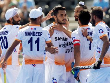 India celebrate scoring against Scotland. Twitter/ @HockeyIndia